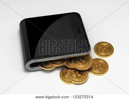 Concept Of Digital Wallet And Bitcoins. 3D Scene.