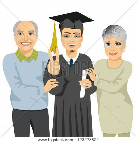 grandparents proud and happy of grandson holding diploma and showing a victory sign on graduation ceremony day