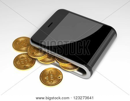 Concept Of Virtual Wallet And Bitcoins. 3D Scene.