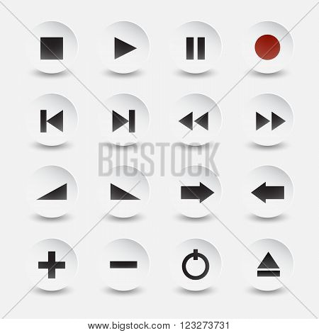 Vector music and video icons on white black style