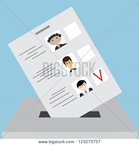 Bulletin box for votes. Voting polling ballot box paper bulletin political and referendum election in government. Vector abstract flat design illustration