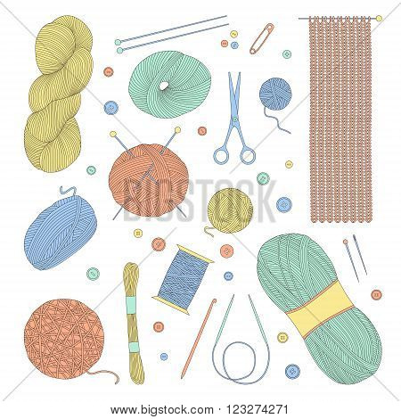Set of thread for knitting and crafts. Vector illustration. Isolated on white background.