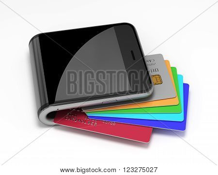 Concept Of Virtual Wallet And Credit Cards. 3D Scene.