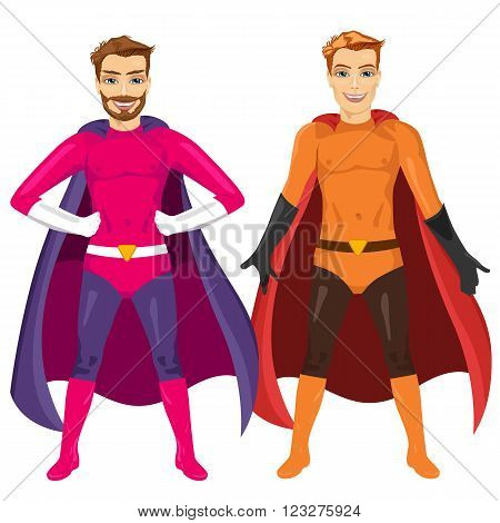 two young men in superhero costume standing legs apart isolated over white background
