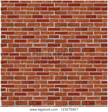 Red realistic brick wall seamless Vector illustration background - texture pattern for continuous looping replicate. Solid and flat color design.