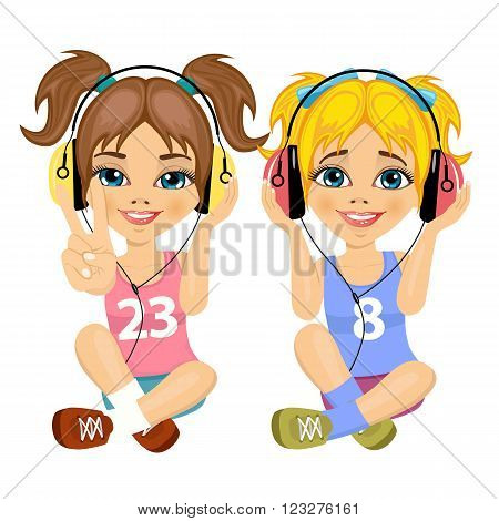 two cute teenager girls sitting together on floor listening music with headphones isolated on white background