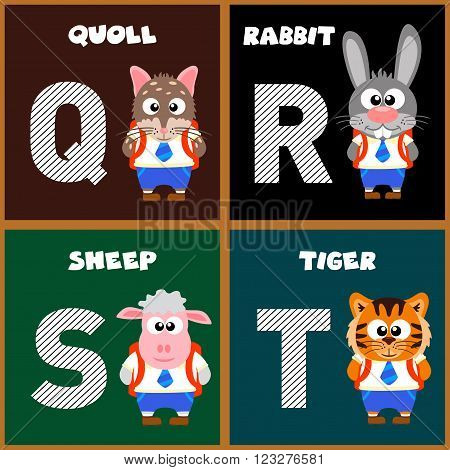 The English alphabet letter Q,R,S,T. Vector illustration