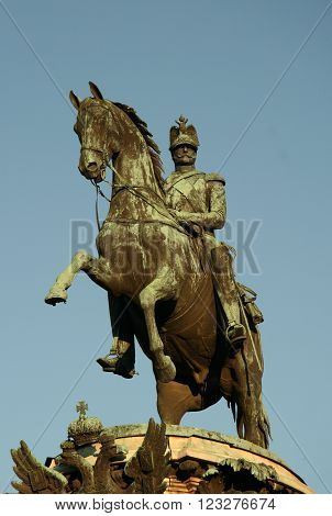 St. Petersburg, Russia - July 18, 2009: Monument To Emperor Nicholas I Near Saint Isaac's Cathedral,