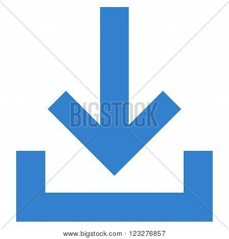 Inbox vector icon. Style is flat icon symbol, cobalt color, white background.