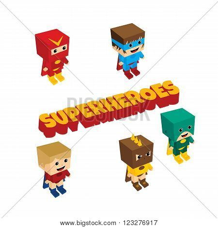 amazing superhero isometric theme vector art illustration