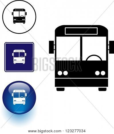 bus symbol sign and button