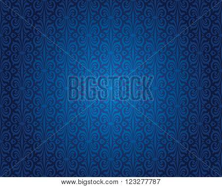 Indigo blue vintage background repetitive pattern design