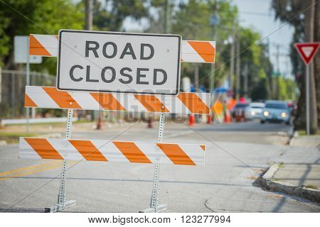 Road street construction zone warning hazard sign road closed