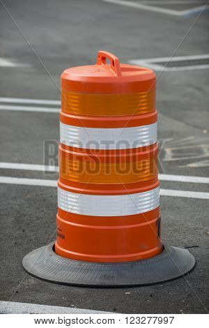 Road street construction zone warning hazard sign barrel barricade