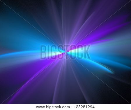 Abstract black background with purple, turquoise and blue color flower or rays in the center texture, fractal