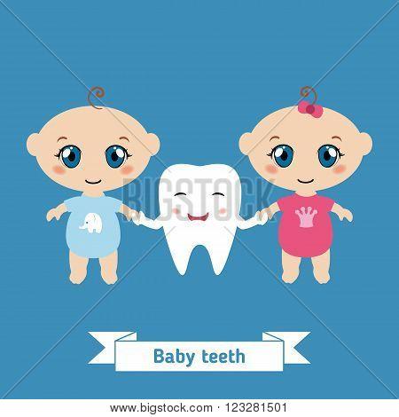 Dental care design. Happy babies holding hands cartoon tooth.