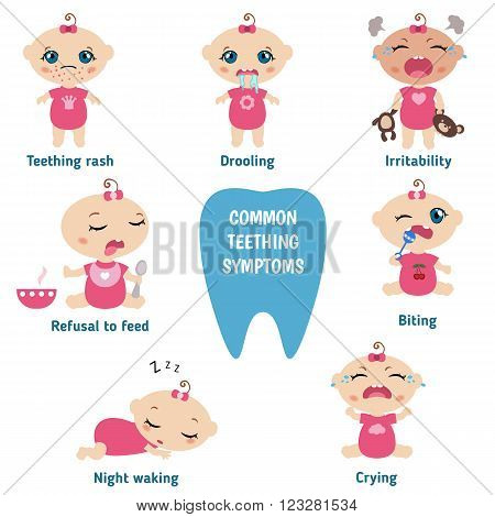 Teething signs and symptoms. Set of babies illustrating the symptoms of teething.  Baby teething infographic.