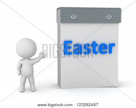 3D character showing a tear-off calendar with Easter written. Isolated on white background.