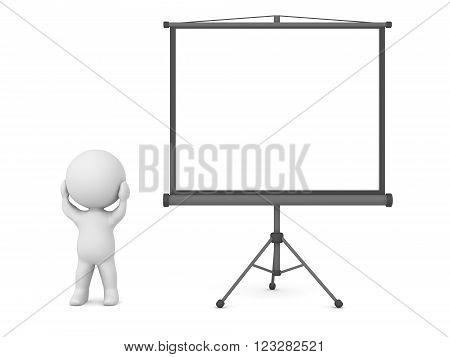 Small 3D character is standing holding his head stressed next to a projector screen. Isolated on white background.