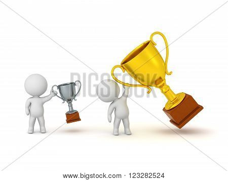 3D character holding a small silver trophy and another character holding a large golden trophy. Isolated on white background.