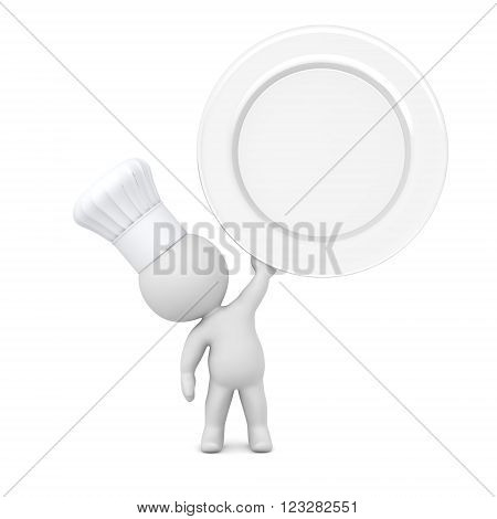 Small 3D character wearing chefs hat is holding up a large empty plate. Isolated on white background.