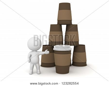 Small 3D character showing stack of coffee cups. Isolated on white background.