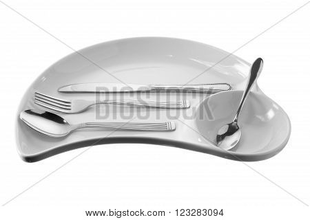 Plate with Utensils on Isolated White Background