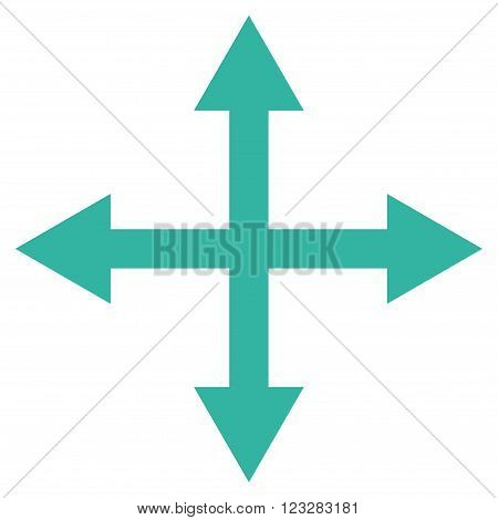Expand Arrows vector icon. Style is flat icon symbol, cyan color, white background.
