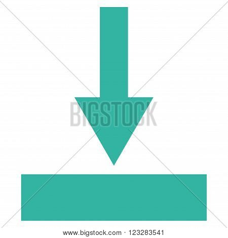 Move Bottom vector icon. Style is flat icon symbol, cyan color, white background.