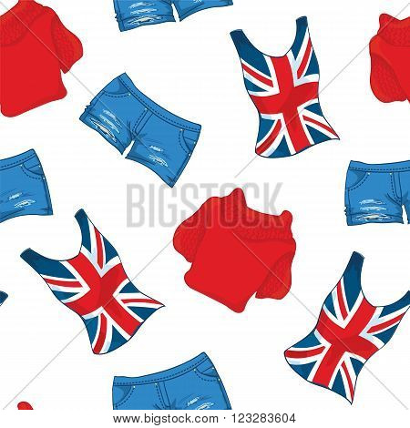 Vector pattern of london print shirt and red pullover and jeans