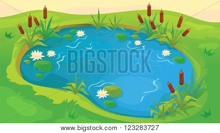 Vector seamless cartoon game background of pond with reeds and water lilies