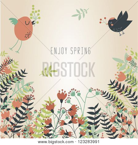 Spring lovely background with flowers and cute birds flying