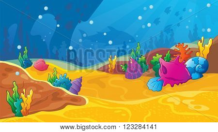 Vector seamless cartoon game background of underwater world with shells and corals