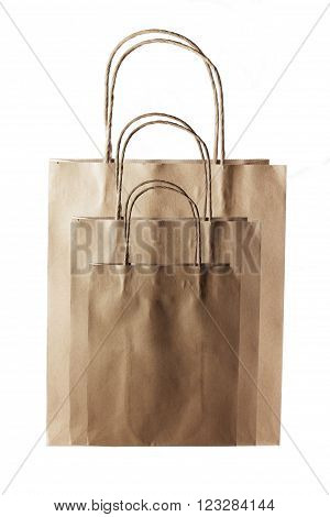 Brown Paper Bags on Isolated White Background