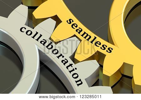 Seamless Collaboration concept on the gearwheels 3D rendering