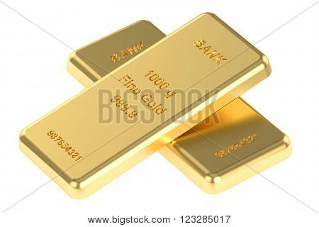 Two gold ingots 3D rendering isolated on white background