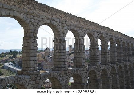 Ancient Roman aqueduct at Segovia in Spain ** Note: Soft Focus at 100%, best at smaller sizes