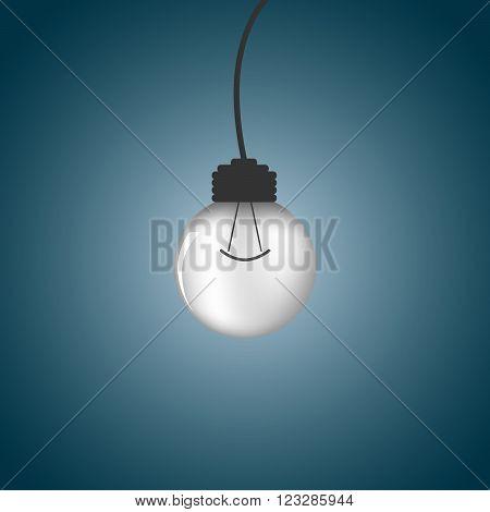Light bulb - vector illustration. Light bulb - abstract background. Abstract background with light bulb. One light bulb on a dark background.