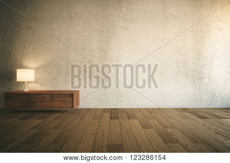 Room interior with empty concrete wall, wooden drawer cabinet with lamp and parquet. Mock up, 3D Redner