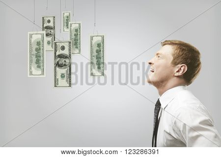 Young caucasian businessman looking at hanging dollar banknote on grey background