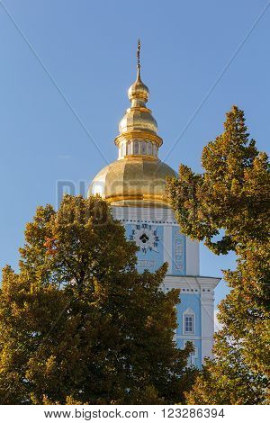 Golden dome of St. Michael's Golden-Domed Monastery. Kiev Ukraine