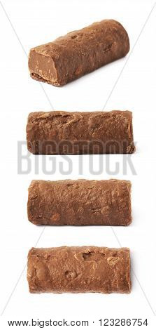 Chocolate praline candy isolated over the white background, set of four different foreshortenings