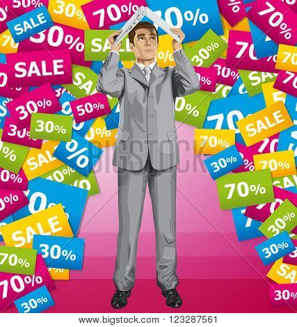 Vector business man on sale hides under the laptop in his hands