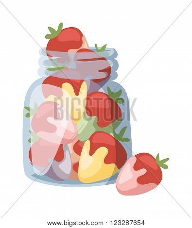 Sweet tasty strawberry cream breakfast and juicy strawberry cream yogurt. Strawberry yogurt fresh cream healthy breakfast. Beautiful red strawberry cream in white chocolate summer vector illustration.