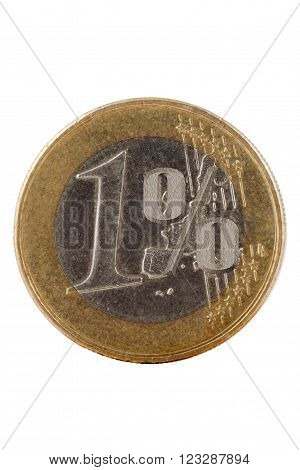 One euro coin on white symbol percent clipping path
