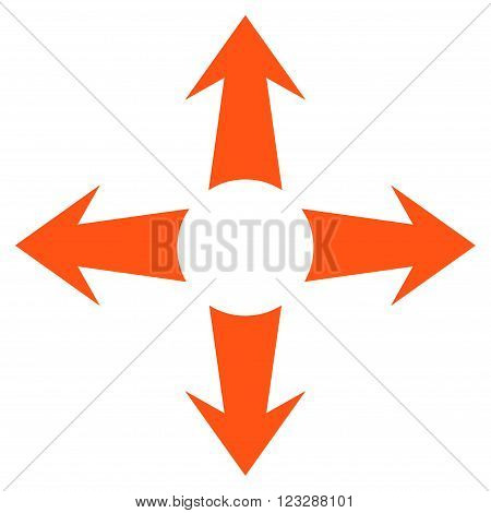Expand Arrows vector icon. Style is flat icon symbol, orange color, white background.