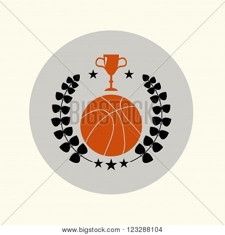 Basketball emblems and symbols with a ball and trophy cup logo enclosed in a laurel wreath with a stars. vector