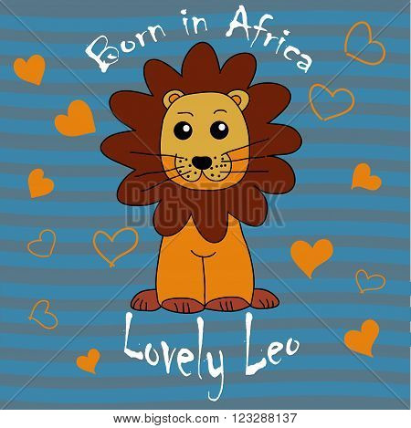Leo freehand drawing child with hearts and a striped wavy background and text. vector