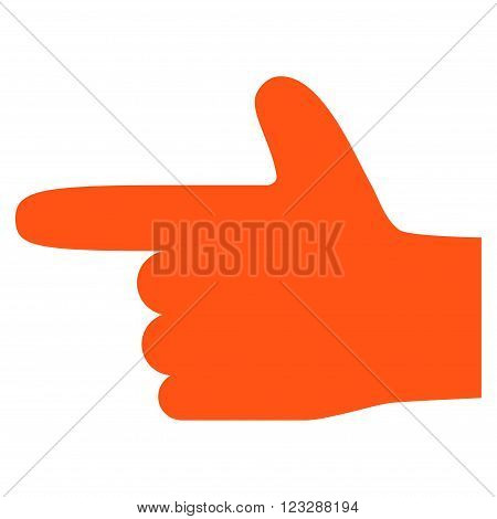 Hand Pointer Left vector icon. Style is flat icon symbol, orange color, white background.