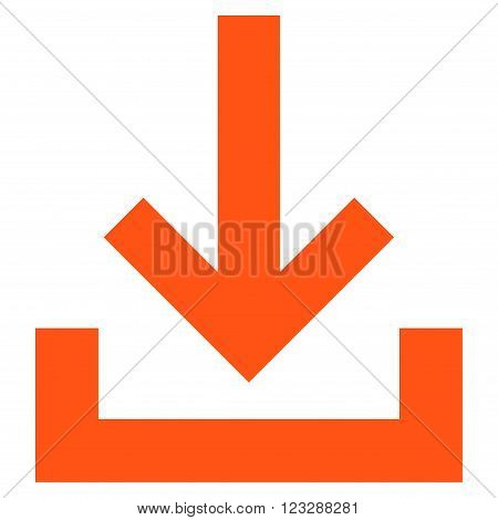 Inbox vector icon. Style is flat icon symbol, orange color, white background.